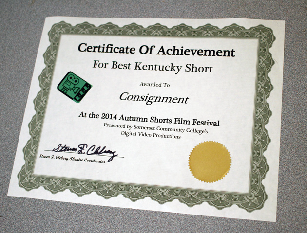 """Consignment"" by Justin Hannah wins BEST KENTUCKY SHORT at the 2014 Autumn Shorts Film Festival"